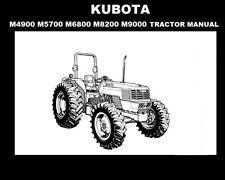 Kubota M4900 M5700 M6800 M9000 Tractor Operation Manual w/ Maintenance & Service
