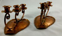 VINTAGE  GREGORIAN COPPER HAND HAMMERED COPPER CANDLE HOLDERS-SIGNED
