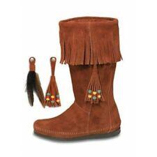 Minnetonka Brown (1622) & Black (1629) Suede Fringe Moccasin Boots
