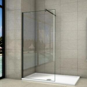 Walk In Wet Room Black Shower Enclosure Screen Cubicle Glass Panel & Tray