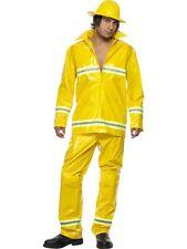 Fireman Costume Large Yellow - Fire Fighter Fancy Dress - Mens Fancy Dress