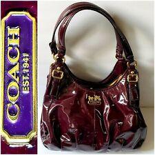 Coach 18760 Madison Brass and Plum Maggie Patent Leather Handbag