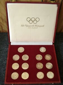 1976 Innsbruck, Austria Winter Olympic Proof & Uncirculated 14 Coin Silver Set