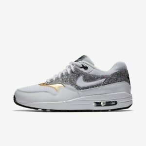NIKE WOMENS AIR MAX 1 SE WHITE BLACK GOLD SIZE 3.5 4 5 TRAINER SHOE NEW RRP £100