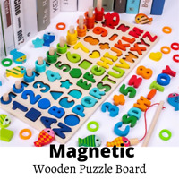 Wooden Math Alphabet Educational Toys Kids Montessori Learning Preschool Puzzle