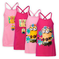 Girls Cross Back Minions Motif Cotton Mini Dress Strappy Cami Graphic Sundress