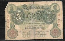 GERMANY #26a 1906 50 MARK GOOD CIRCULATED OLD BANKNOTE PAPER MONEY BILL NOTE