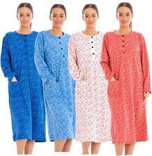 Warm Thermal Nightdress Long Sleeve 100% Cotton Brushed Floral Print Nightwear