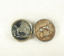 2 Boutons hunting with hounds dog stop hunt old buttons