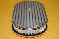 """15"""" Polished Aluminum Oval Finned Breather Cleaner Air Filter Fit"""