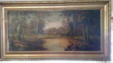 Antique oil painting signed J.A. Leighner on canvas landscape