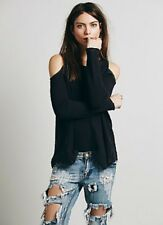 NWT Free People Sunset Thermal Cold Open Shoulder Cut Out Xs S Gray Top Pullover