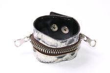 Excelente Ancho Cinturón Negro Patrón de la piel de cocodrilo Pulsera W Zip Around (T401)