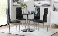 Orbit & Renzo Round Glass & Chrome Dining Table And 4 Chairs Set (Black)