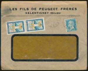 Frankreich Firmenumschlag PEUGOT VALTENTIGNEY mit Tuberkulose Vignette (71626)
