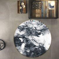 3D Black Graffiti 6 Non Slip Rug Room Mat Round Quality Elegant Photo Carpet