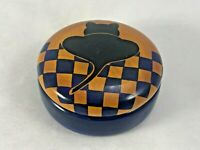 """Round Wood Trinket Box with Cat Black Silhouette 3-1/4"""", Navy Blue"""