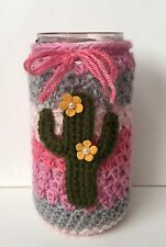 Crocheted 16oz Cactus Mason Jar Cover - Cute Gift