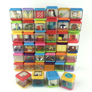 Fisher Price Peek A Boo Lot of 40 Building/Stacking Sensory Assorted Blocks