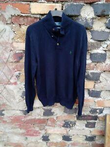 Polo Ralph Lauren navy Long Sleeve half button Collared Cotton jumper L