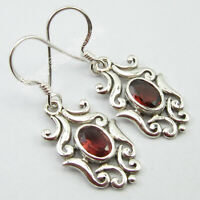 "Red Oval Faceted Garnet Dangle Earrings 1.4"" 925 Sterling Silver Ladies Jewelry"