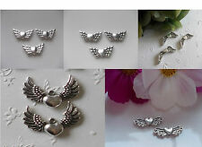 Large Quantity Metal Beads Angel Wings Heart Spacer Silver Selection