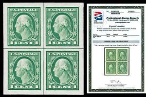 Scott 408 1912 1c Washington Mint Center Line Block Graded Gem 100 NH PSE CERT!