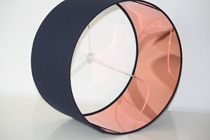 Lampshade, Indigo (Navy) Blue with Mirror Copper Lining
