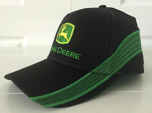 John Deere Black Fabric Hat Cap w Green Stripe Embroidery & Vintage Logo