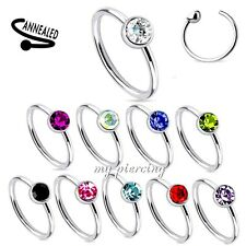 """2pcs. 20g~5/16"""", 3/8"""" Surgical Steel Annealed Clear C.Z. Tragus Nose Hoop Rings"""