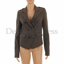 OUI COLLECTION Jacket Brown & Grey Check Military Style Size 36 / UK 10 MG 385