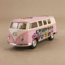1962 Volkswagen VW Bus Flower Power Pink Hippy 1:32 13cm DieCast PullBack OLP