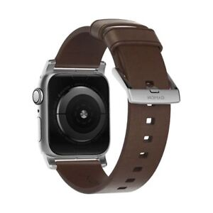 Nomad Horween Leather Strap Modern Apple Watch 1,2,3,4 40-38mm - BROWN SILVER