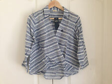 Hollister Women Wrap Shirt Sz M Blue Stripe White Front Cotton Long Sleeve New