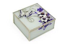 Butterfly & Flowers Purple Glass & Wire Trinket Jewelery Box Gift 561TB