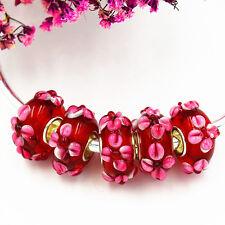 5pcs MURANO Lampwork charm Beads fit 925 silver European Bracelet Chain a262