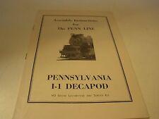 Penn Line Ho Scale Railroad Pennsylvania I-1 Decapod Assembly Instructions