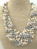 Vintage Style Necklace Glass Crystal Aurora Borealis White & Ecru Pearl Cluster
