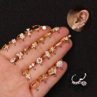 Gold Crystal Barbell Ball Back Bar Cartilage Tragus Helix Stud Piercing Earring