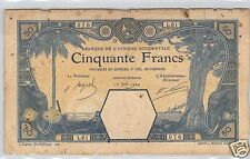 AOF AFRIQUE OCCIDENTALE FRANCAISE GRAND-BASSAM 50 FRANCS 12.06.1924 L.61 !!!!!