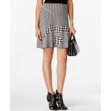 Grace Elements New Womens Mixed-Print Flared Sweater Skirt, Black/White, Small S