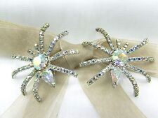 Halloween Spider Swarovski Element Austrian Crystal Rhinestone Clip On Earrings