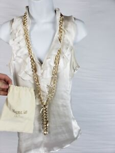 """38"""" John Wind Maximal Necklace Signature 14kt Gold Plate Austrian Crystals 146g"""