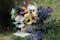 Oil painting Albert Tibulle de Furcy Lavault Pansies and Forget-Me-Not Giclee