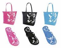 LADIES GIRLS FLORAL FLIP FLOPS SANDALS or MATCHING BEACH BAG SIZES 3/4 5/6 7/8