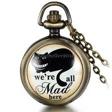 Black Cat we're all mad here Arabic Numerals Quartz Pocket Watch Necklace