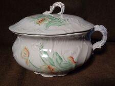 antique CHAMBER POT & LID TOP painted ART POTTERY Porcelain LENOIR