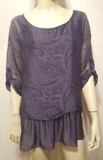 JS Millenium Blue Paisley Shirt Sz M/L Silk Rayon Ruffled Tiered Italy