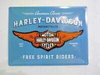 Harley Davidson Blechschild Schild Wandschild Blue Wings Logo 30x40 10014897MP