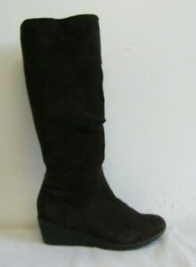 FOOTGLOVE WOMENS KNEE HIGH BOOTS SIZE UK 7.5 BROWN SUEDE